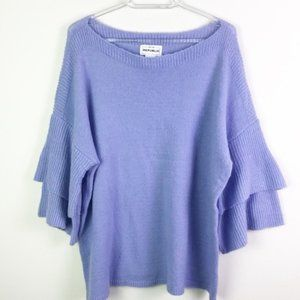 FOR THE REPUBLIC Purple Tiered Bell Sleeve Sweater